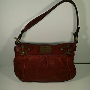 Fossil red leather hobo style bag